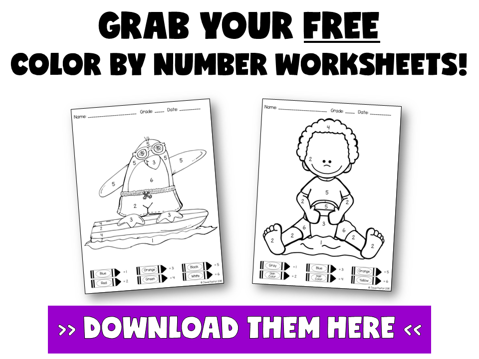 3 BENEFITS OF COLOR BY NUMBER WORKSHEETS BY JEWEL PASTOR | Read about three benefits of using color by number worksheets in the classroom and download free color by number worksheets when you become a subscriber.