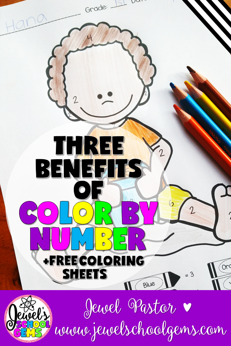 THREE BENEFITS OF COLOR BY NUMBER WORKSHEETS by Jewel Pastor of www.jewelschoolgems.com | Have you ever tried using color by number pages in the classroom? If you have, then I bet you'll agree that these pages provide a lot of fun for children of all ages the whole year round. Aside from providing hours of enjoyment for your kiddos, here are three other benefits of using color by number pages plus a color by number freebie when you subscribe.