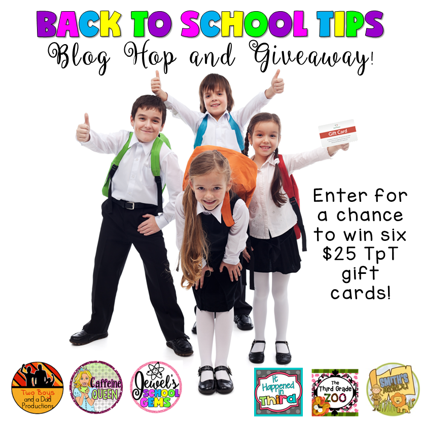 Read about back to school tips and get a chance to win $25 TpT gift cards in this blog hop and giveaway!