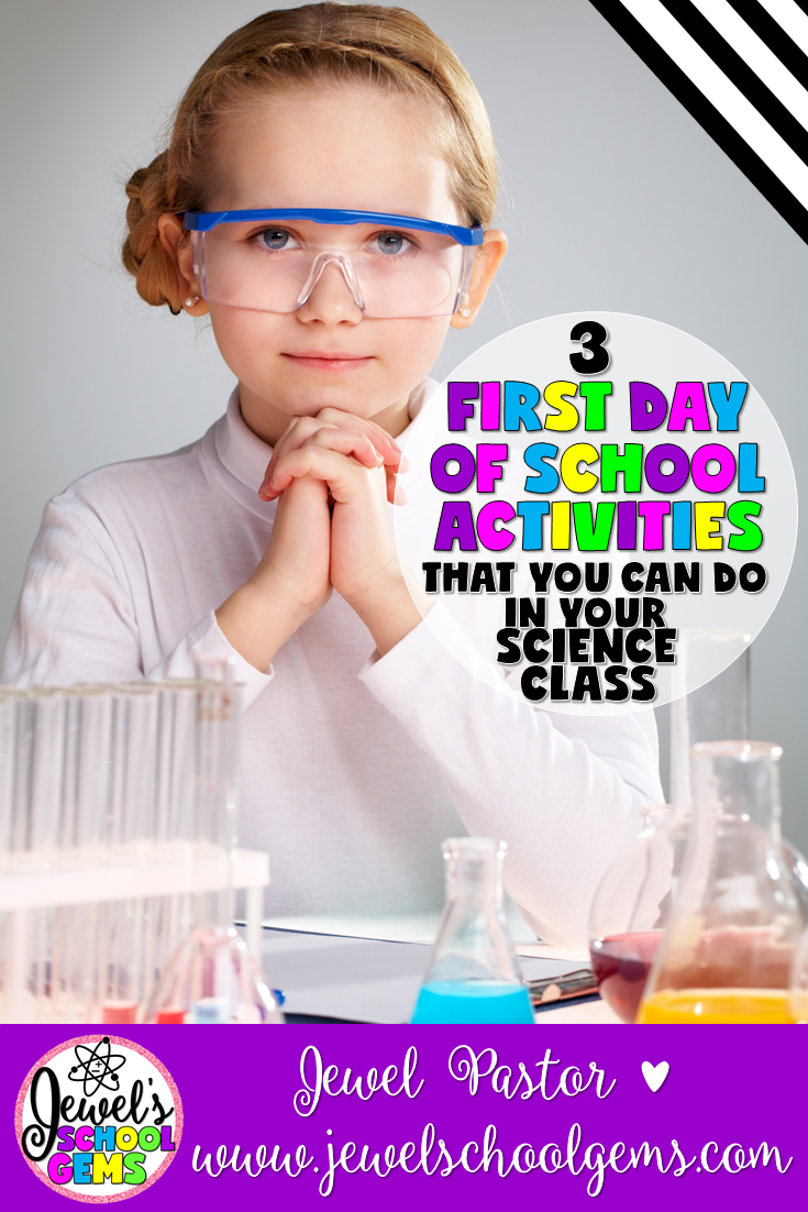 3 First Day of School Activities That You Can Do in Your Science Class by Jewel Pastor | Read about three first day of school activities for your science class, grab an all about me freebie, and have a chance to win a $25 TpT gift card!