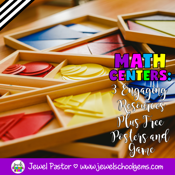 MATH CENTERS:  3 ENGAGING RESOURCES PLUS FREE POSTERS AND GAME