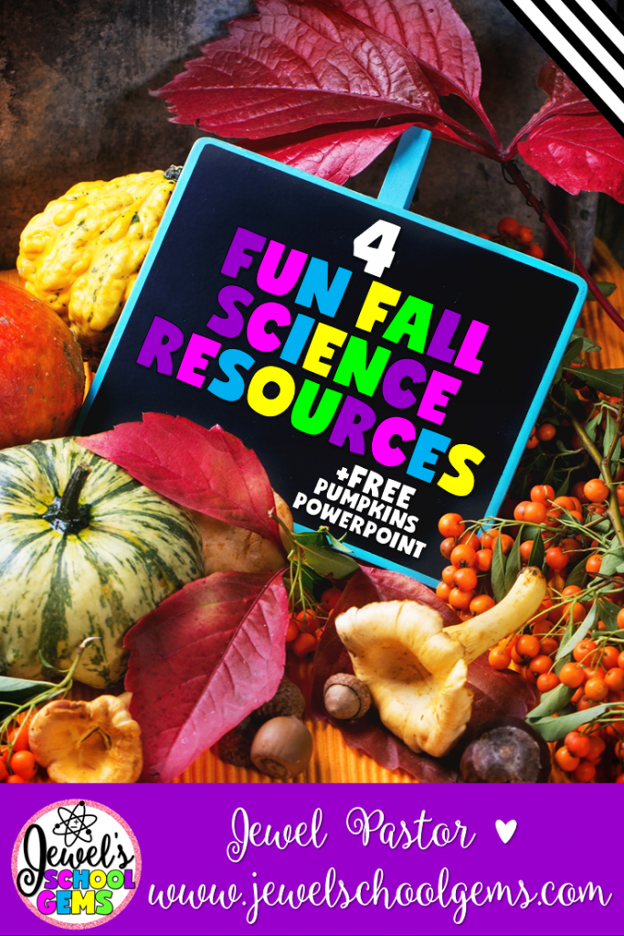 4 FUN FALL SCIENCE RESOURCES FOR PRIMARY by Jewel Pastor of Jewel's School Gems | Do you need fun yet practical fall science resources? Read about four fun fall science resources and download a FREE Pumpkin PowerPoint sampler!