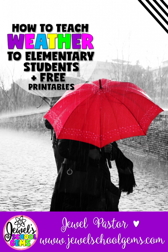HOW TO TEACH WEATHER TO ELEMENTARY STUDENTS | by JEWEL PASTOR by JEWEL'S SCHOOL GEMS | Are you looking for ideas on how to teach weather to elementary students? Read on plus download a free word search, observation chart and acrostic poem!