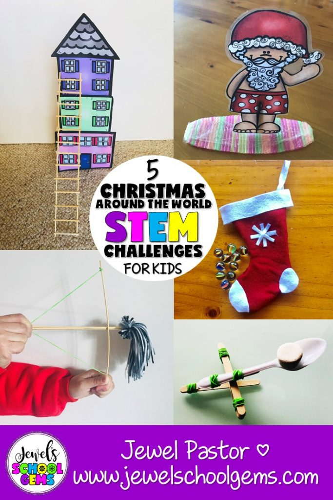 5 CHRISTMAS AROUND THE WORLD STEM CHALLENGES FOR KIDS BY JEWEL PASTOR OF JEWEL'S SCHOOL GEMS | It's almost the holidays and kids are getting restless. So, what should we do? Christmas Around the World STEM challenges can be the answer to your prayers!