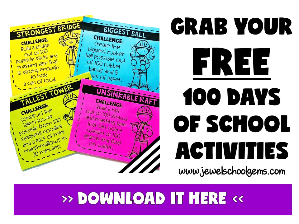 FREE 100 DAYS OF SCHOOL STEM ACTIVITIES