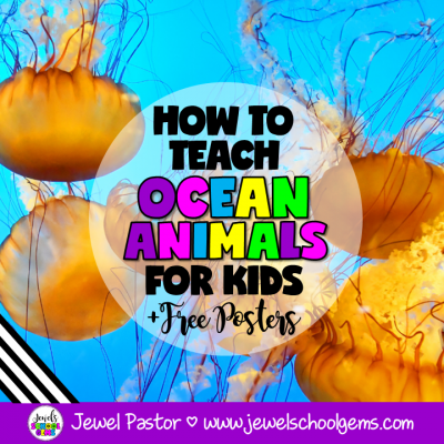 Looking for ways to teach ocean animals for kids? Read about different ways and resources you can use in this article plus grab FREE vocabulary posters.